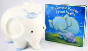 Child to Cherish Coco Elephant (Blue) Bank Bundle with If Animals Kissed Good Night Board Book