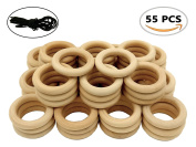 R.FLOWER 55 PCS 5.6cm Natural Wood Rings Circles Wooden Rings for Craft DIY Pendant Connectors Jewellery Making