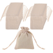 Mudder 20 Pack Cotton Muslin Bags Burlap Bags Drawstring Muslin Bag for Wedding Party Favour and DIY Craft, 12cm by 8.9cm