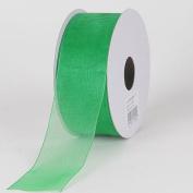 Emerald Green 3.8cm . Wide Sheer Organza Ribbon - 25 Yards