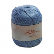 Celine lin One Skein Baby Soft Linen Yarn Breathable Flax Hand Knitting Yarn 50g,Blue