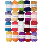 TYH Supplies 20 Skeins Bonbons Yarn Assorted Colours 44yd Each 100% Acrylic for Crochet & Knitting Multi Pack Variety Coloured Assortment 44 Yards Each Bonbon