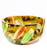 Antique Coloured Handmade Premium Wooden Yarn Ball Storage Bowl With Yarn Dispensing Curl | Knitting Storage Accessories & Supplies | Nagina International (Large