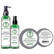 """Spartans Den #1 Rated Beard Growth and Conditioner Mens Gift Set - 100% NATURAL Beard Oil, Balm and Shampoo to Fight Dandruff and Itch, Promote Thickness and Softness - """"REVIVE"""""""