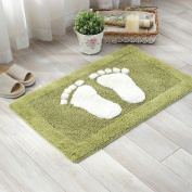 TOFERN 100% Cotton Chenille Shaggy Feets Non-slip Rug Fluff Absorbent Durable Skin-friendly Machine Washable Anti-fading Doormat Home Decor Carpet Entrance Mats Dirt Barrier Mats, Green, 50X80cm