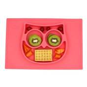 One Piece Self Suction Non Slip Silicone Placemat and Bowl For Kids Fit most Highchair Trays, Owl Feeding Mat by Switol