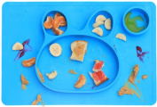 PomPerfect One-Piece Silicone Baby Placemat Plate | No Spill Stay Put Kid's Place Mat