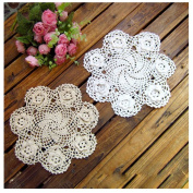 WCHUANG Lace Handmade Round Crochet Table Doily Tablecloths Cotton Placemat Tablemat, 3PCS