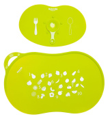 Kidsmile Baby Silicone Suction Placemat Set including 1 Mini Size Feeding Placemat with Bowl Sucker and 1 Standard Size Portable Table Mat, Fits Most Babies Highchair Tray or Dining Table, Green