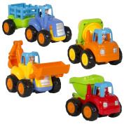 (Set of 4) Push and Go Friction Powered Car Toys,Tractor, Bull Dozer truck, More