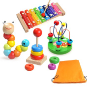 5 Sets Include 8 Notes Xylophone Kids Game Educational Toy Wooden Toy Gift