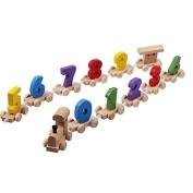 0-9 Digital Numbers Wooden Train Figures Railway Kids Wood Mini Toy Educational