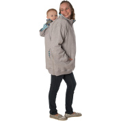 RooCoat Babywearing Coat 2.0 Grey with Blue Stripes XL