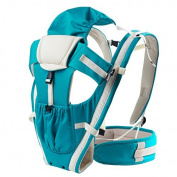 100% Organic Cotton All Season Baby Carrier Backpack Sling 2 in 1 with Hip Seat and Detachable Headrest Acid Blue Max 20kg