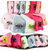 Baby Socks For Girls 8-24 Months Best 1 Year Old Girl Gift Non Slip Grips, Baby Walker Cartoon Socks From Tiny Captain