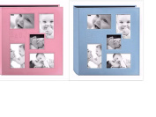 """2 Pioneer Collage Frame Embossed """"Baby"""" Sewn Leatherette Cover Photo Album, 10cm x 15cm , Colour Baby Blue + Baby Pink"""
