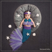 Newborn Boy Girl Baby Costume Outfits Knitted Photography Props Crochet Mermaid Headband Bra Tail