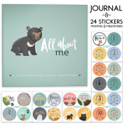 First Year Baby Memory Journal Book + Bonus Monthly Milestone Stickers. Baby shower gift & keepsake to record photos & milestones. Five year scrapbook & picture album for boy & girl babies.