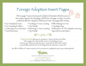 Tessera Baby Books Baby Memory Book Insert Pack, Foreign Adoption