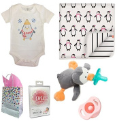 """""""Baby Penguin"""" 5 Item Baby Shower Gift Set, Girl, with FREE Gift Bag"""