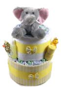 Sunshine Gift Baskets - Yellow Nappy Cake Gift Set with an Elephant