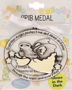 Guardian Angel Gifts - Luminous Guardian Angel Crib Medal with White Ribbon
