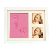 Novelty Babyprint Keepsake -- Newborn Baby Hand & Foot Print Photo Frame,DIY Memorable Baby Shower Gift,Cute Baby Picture Frame Gift for New Parents,Room Desktop Decor, Prenium Clay and Wood Frame