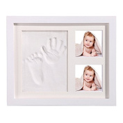 Herasa Baby Handprint And Footprint Wooden Picture Frame Sets Unique Memoty Making For Child Boys And Girls Soft Nontoxic Clay