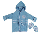 Little Beginnings Infant Plush Terry Bath Robe and Booties with Elephant Applique