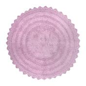 DII 100% Cotton Crochet Round Luxury Spa Soft Bath Rug, For Bathroom, Vanity, and Dorm Room - 70cm , Mauve