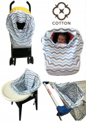 Baby Car Seat Covers COTTON Nursing Canopy 5 in 1 Multi-Use Stretchy Infant Girls Boys Unisex Carseat Cover Best Shower Gift