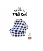 "AS SEEN ON SHARK TANK The Original Milk Snob Infant Car Seat Cover and Nursing Cover Multi-Use 360° Coverage Breathable Stretchy ""Navy Plaid"""