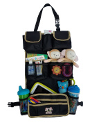 Monkey Brothers Extra Wide Seat Back Car Organiser - kids car storage,15 pockets, heavy duty canvas, strong buckles, non-toxic material