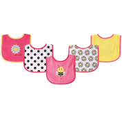 Luvable Friends 5 Piece Drooler Bibs with Waterproof Backing, Pink Bee