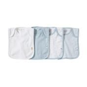 Burt's Bees Baby - Set of 4 Bee Essentials Lap Shoulder Bibs, 100% Organic Cotton, Sky Variety