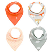 Pack of 4 Baby Bandana Drool Bibs Unisex Gift Set for Drooling and Teething, 100% Organic Cotton, Soft and Absorbent, Hypoallergenic - for Boys and Girls by Bassion