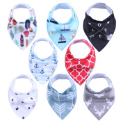 GK Baby Bandana Drool Bibs, Unisex 8 - Pack Gift Set for Drooling and Teething, Organic Soft Absorbent Cotton Toddlers Hypoallergenic Bibs for Boys and Girl with Adjustable Snaps