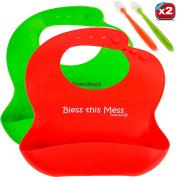 Agoogy Waterproof Baby Bibs + 2 Spoons bonus, Easy to clean