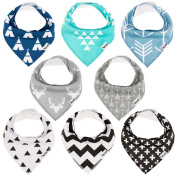 Baby Bandana Drool Bibs for Drooling and Teething, Unisex 8 Pack Gift Set, 100% Organic Cotton Hypoallergenic, Super Absorbent - for Boys and Girls by MiChef