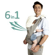 Baby Carrier Grey Hiking Hipseat - 2017 New Design Hip Seat Baby Carrier For Kids, Toddlers, Infants, New Dad and Mums, Including Detachable Hood, 2 Cotton Bibs and 2 Pockets