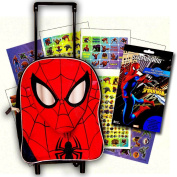 Marvel Spiderman Toddler Preschool Rolling Backpack with Stickers