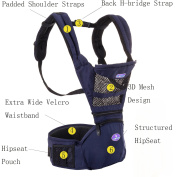Mesh Baby Carrier Navy Hipseat - 2017 New Design 6 Carrying Positions Child Carrier Backpack for Infants and Toddlers 3.5-20kg(3-36 Months), New Dads and Mums