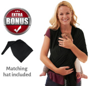 Go tyke – PREMIUM SOFT Baby Sling Wrap Carrier (Black). Easy to use, Hands-Free carry. Lightweight and Breathable. BONUS Matching baby hat. Great Baby Shower Gift. Safe and Comfortable.