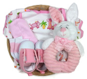 Sunshine Gift Baskets - Bambini Pink Baby Girl with a Plush Bunny Rattle - Baby Shower Gift Set