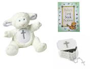 Baby Christening Baptism Gift Set – Keepsake Box Rosary Lamb and Book of Prayers