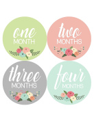 Months In Motion - Baby Month Stickers - Monthly Baby Sticker for Girls - Floral