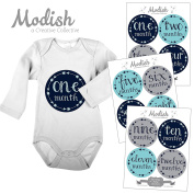12 Monthly Baby Stickers, Baby Boy, Baby Belly Stickers, Baby Month Stickers, First Year Stickers Months 1-12, Arrows, Tribal, Navy, Blue, Teal, Aqua, Grey, Grey, Boy