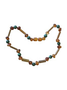 Malachite + Baltic Amber + Hazelwood Baby and Toddler Necklace. Colic, Reflux and Teething. Individually knotted.
