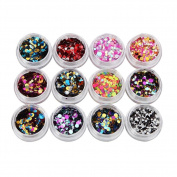 DDLBiz 12 Colours Nail Art Tips Stickers Decal Acrylic 3D Glitter Sequins Nail Art Design