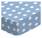 SheetWorld Fitted Stroller Bassinet Sheet - Polka Dots Blue - Made In USA